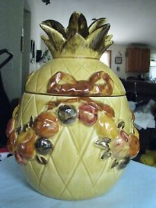 Rare-Vintage-1989-Los-Angeles-Pottery-Yellow-Pineapple-Fruit-Cookie-Jar