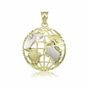 14k solid yellow white gold globe pendant world map planet earth image is loading 14k solid yellow white gold globe pendant world gumiabroncs Image collections