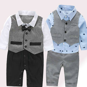 fcf416850 3PCS Set Baby Boy Bow Tie Suit Formal Party Christening Wedding ...