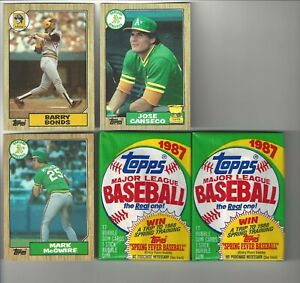 1987-Topps-Barry-Bonds-McGwire-Canseco-Baseball-Cards-2-Unopened-1987-Wax-Pack