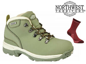 Womens-Waterproof-Hiking-Boots-NorthWest-Territory-Leather-Walking-Trek-Green