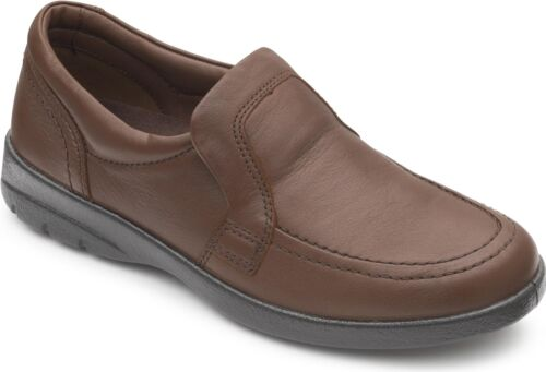 G//H Slip On Loafers Comfort Shoes Dark Tan Padders LEO Mens Leather Wide Dual