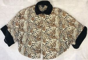 Womens-Leopard-W-Fur-Trim-Cape-Jacket-Swing-Coat-Missy-One-Size-Tan-Black-Borwn