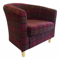 Tub Chair In Soft Lana Tartan Fabric 7 Colours Available