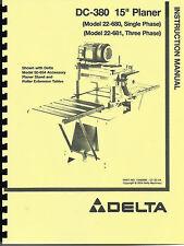 "Delta 15"" DC-380 Planer Instruction Manual 22-680 - 22-681"
