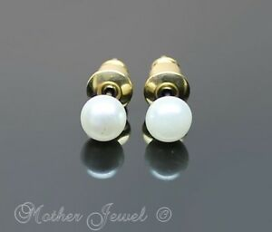 LOVELY-5MM-PEARLS-LADIES-GIRLS-WHITE-FAUX-PEARL-STUD-YELLOW-GOLD-PLATE-EARRINGS