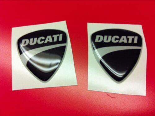 2 Adesivi Resinati Stickers 3D Ducati Corse Nuovo Black Nero 30 mm