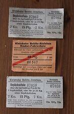 3 alte Fahrkarten Kleinbahn Bebitz - Alsleben Sachsen - Anhalt