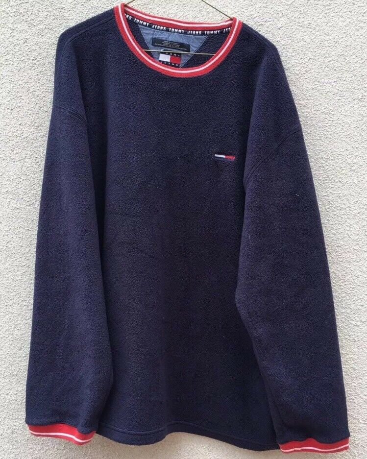 Tommy Hilfiger Jeans Blau Long Sleeve Sweater Vintage Logo Flag  Herren XL
