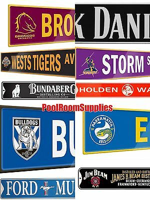 NRL Tigers Storm Broncos Eels Jim Beam Holden Ford Tin Street number Plate Sign
