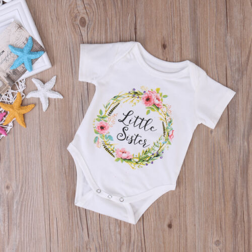 Baby Girl Little Big Sister Match Clothes Jumpsuit Romper Outfits Tops T Shirts