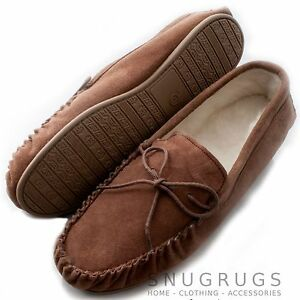 MENS-GENUINE-SUEDE-MOCCASIN-SHEEPSKIN-SLIPPERS-HARD-SOLE-LIGHT-BROWN-SIZES-6-15