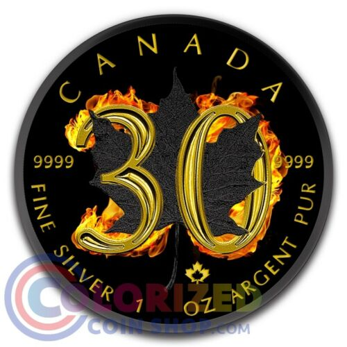 2018 1 oz Silver Canada  Maple Leaf 30th Anniversary Burning Coin BOX /& COA