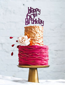 Image Is Loading Happy 60th Birthday Cake Topper Glittery Dark Purple