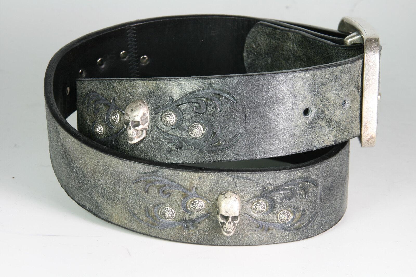 1021 Sendra Gürtel Barbados Negro skulls Handarbeit Wechselgürtel
