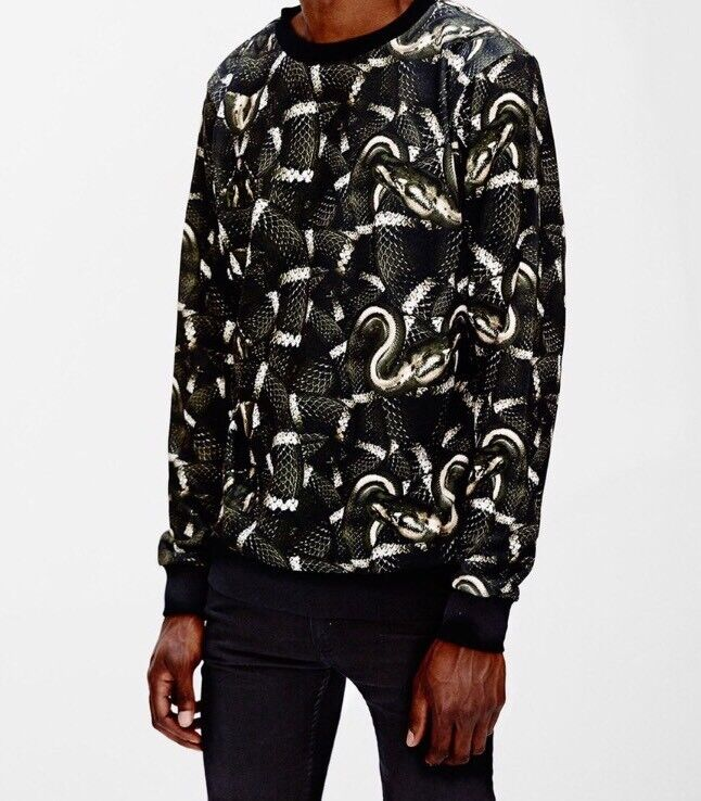 Brand New With Tags Marcelo Burlon County Of Milan Snake Grün  Herren Crew Sweater