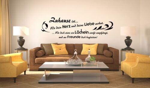 """/"""" Zuhause ist.../"""" Liebe Herz Freunde Lebensweisheit Zitat Wandtattoo A039"""
