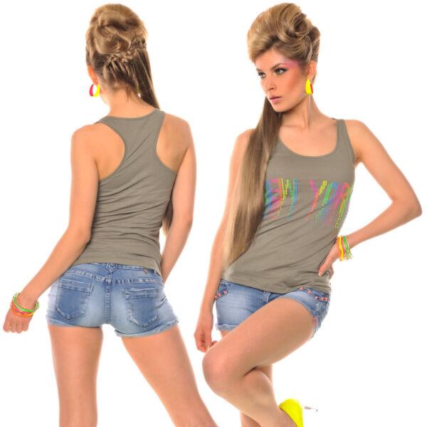 Longtop Top Ringertop Tanktop Shirt Stetch Strass Sporttop Bluse Hemd 36-40