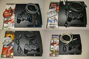 Sony-Playstation-3-PS3-Genuine-Console-Pack-Controller-Cables-3-Games