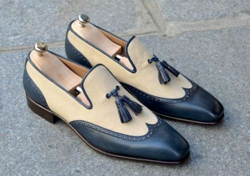 acquista la qualità autentica al 100% Mens Handmade Fashion Two tone Leather Leather Leather Beige and blu Wingtip Leather Sole scarpe  vendita outlet