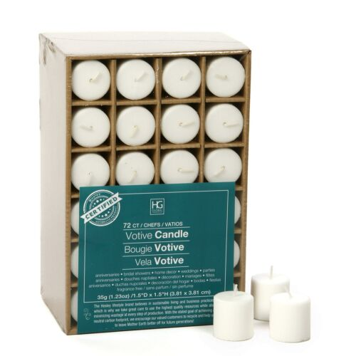 Wax Hosley Set of 72 Unscented White Votive Candles up to 10-Hours Bulk Buy