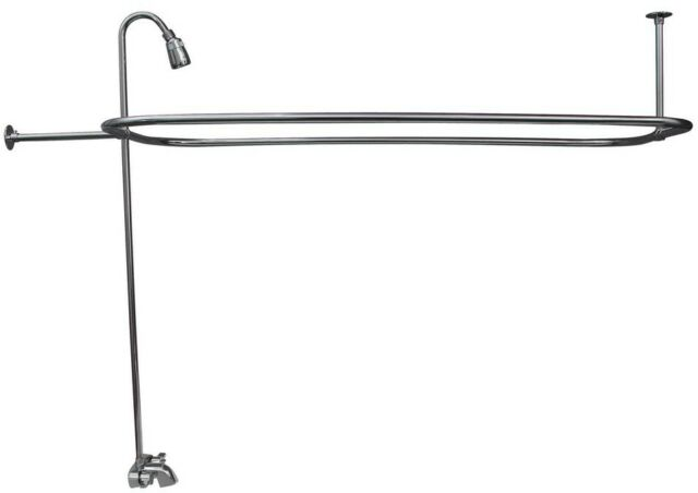 Clawfoot Tub Shower Riser.2 Handle Claw Foot Tub Faucet Riser 54in Rectangular Shower Ring Polished Chrome