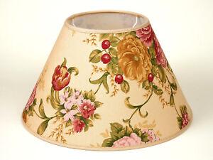 Lampenschirm-Rund-Gross-Xl-35cm-Bunte-Blumen-Herbstblumen-Laendlich-Rustikal