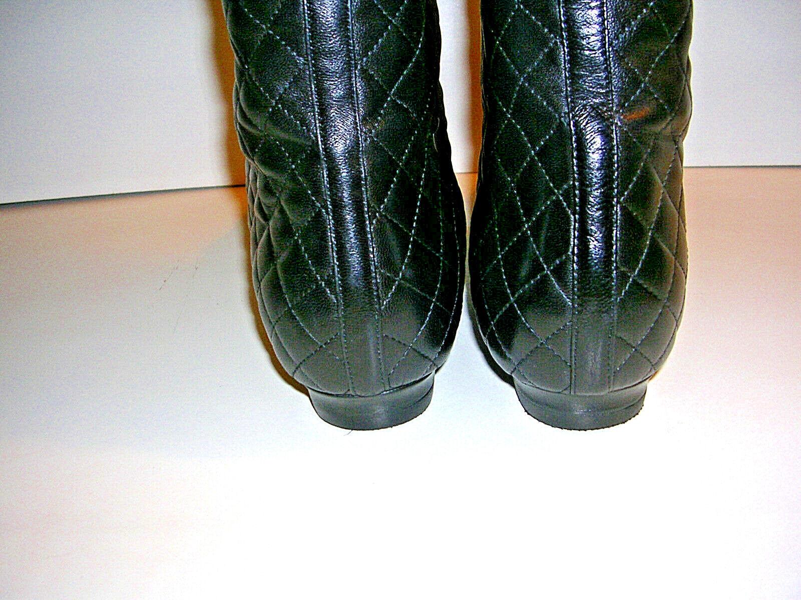 MANOLO BLAHNIK schwarz QUILTED NAPA LEATHER KNEE HIGH FLAT    Irie  Stiefel Größe 36 435cb1