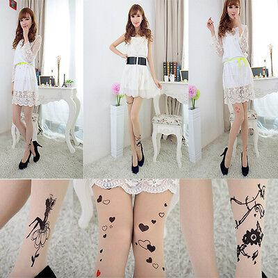 Cool Lady Printing Spirit Flower Tattoo Legging Silk Stockings Sock Siamese Pant