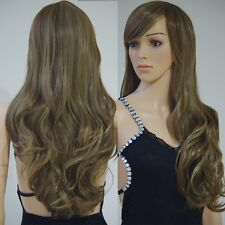 Real Thick Wig Long Straight Curly Wavy Full Wigs Cap Hair Nets Ash Blonde Brown