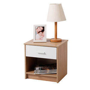 nachttisch nachtschrank nachtkommode konsole mit schublade holz eiche tsg14hei ebay. Black Bedroom Furniture Sets. Home Design Ideas