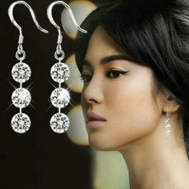 Fashion Elegant Charming Bridal Crystal 925 Sterling Silver Dangle Earring