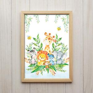 Babyzimmer Deko Junge Dschungel Tiere Bild Kinderbild Poster