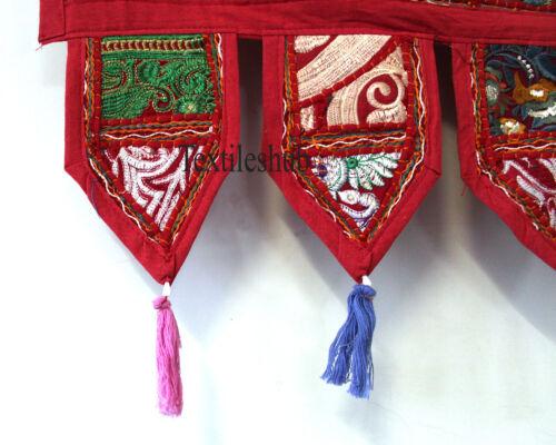 Vintage Indian Red Patchwork Toran Embroidery Door Valances Wall Hanging Decor
