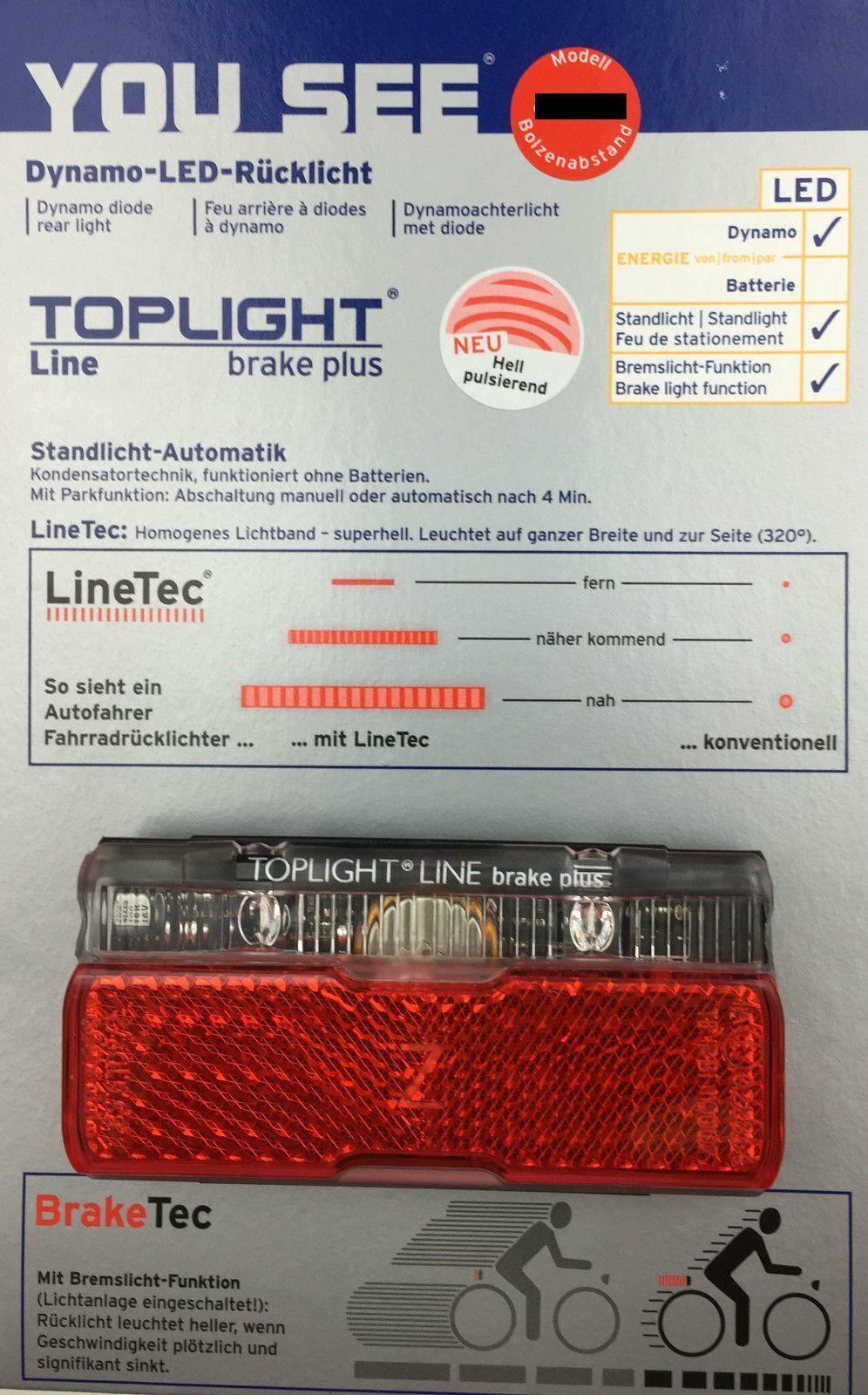 B&m Toplight Line FRENO PLUS faro fanale posteriore 50 mm bolzenabstand