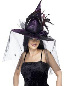 La imagen se está cargando LUJO-Sombrero-de-Bruja -Mujer-Halloween-Accesorio-Disfraz- 3c66713c269