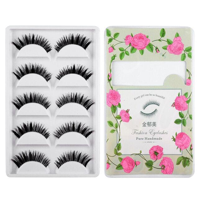 5 Pair Handmade Thick Long False Eyelashes Mink Eye Lashes Natural Makeup No5EPV