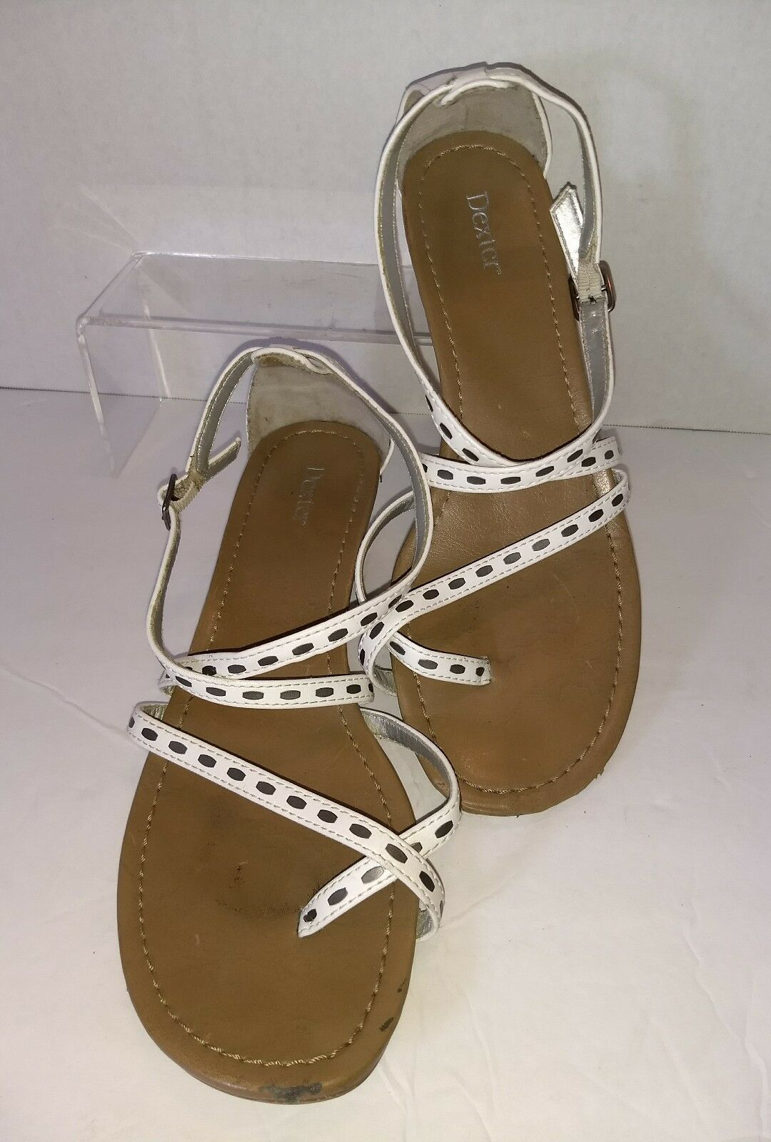 Dexter Womens  White Strappy Wedge Heel  Womens Sandal Size 8 ribbon accent a226e9
