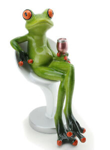 Novelty Frog Figurine Texting on Toilet Green and Orange