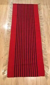 """Vintage  Rug 56""""x20"""" Red / Black Stripped . Unusual AS IS Region Age Unknown."""