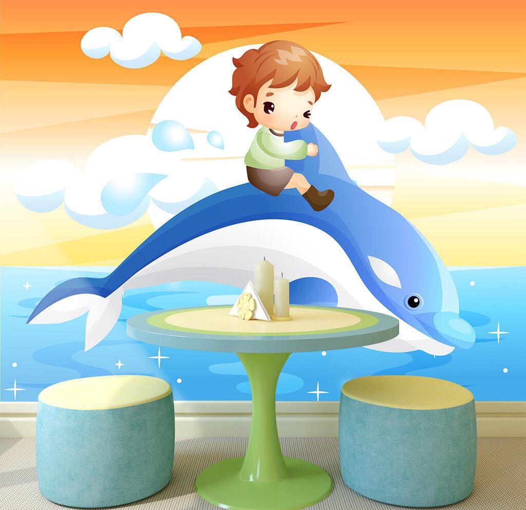 3D Junge Delphin Ozean 9844 Tapete Wandgemälde Tapeten Bild Familie DE Lemon | Merkwürdige Form  | Komfort  | Beliebte Empfehlung