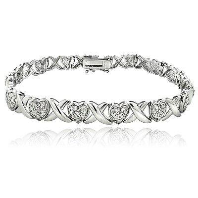 1.00ct TDW Natural Diamond X & Heart Design Bracelet in Brass