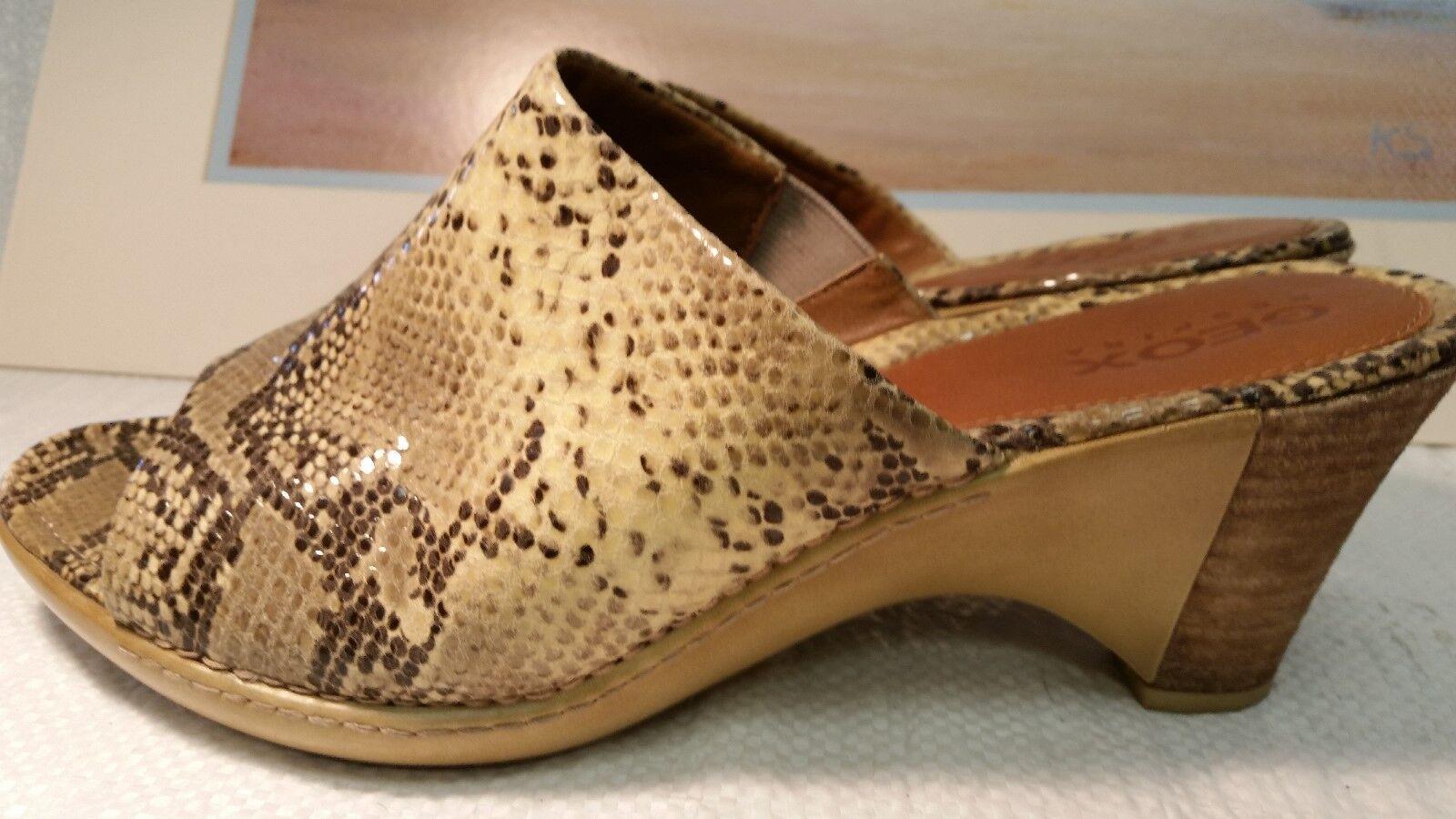 Geox respira Mujer 40 US 9 Sandalias Bronceado Piel Piel Piel De Serpiente Cuña De Cuero Zapatos De Charol 1b7eae
