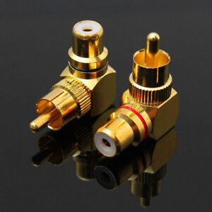 2-Pieces-Laiton-Rca-Angle-Droit-Connecteur-Prise-Adaptateur-Male-a-Femelle-90