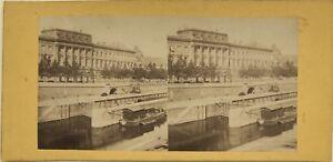 Parigi-Hotel-Da-La-Moneta-La-Senna-Foto-Stereo-Vintage-Albumina-c1870