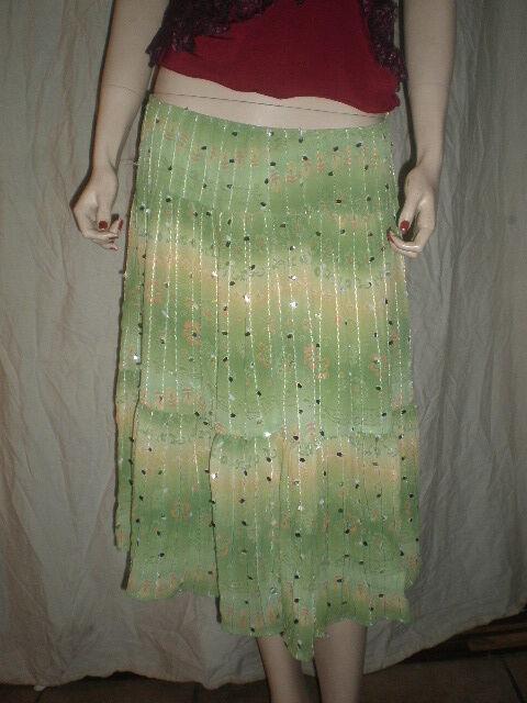 HIPNOTIX   Skirt W   Sequins  Floral Print Green  10