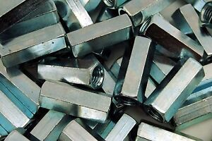 (50) Hex Coupling Nuts 1/2-13 x 11/16 x 1-3/4 Threaded Rod Connector Zinc
