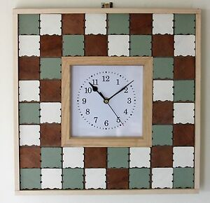 NEW-Large-40cm-Wooden-Wall-Clock-Handmade-Shabby-Chic-Mosaic-Country-Green