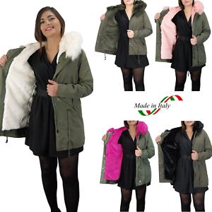 Parka-Donna-Invernale-Giubbotto-cappuccio-pelliccia-Cappotto-Imbottito-Lungo