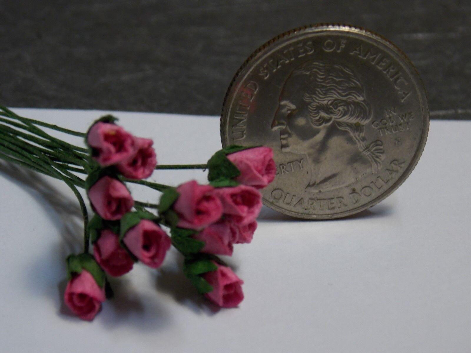 Dollhouse Miniature Dark Pink Roses Flowers Dozen 1 12 D13 scale D13 12 Dollys Gallery e4daee